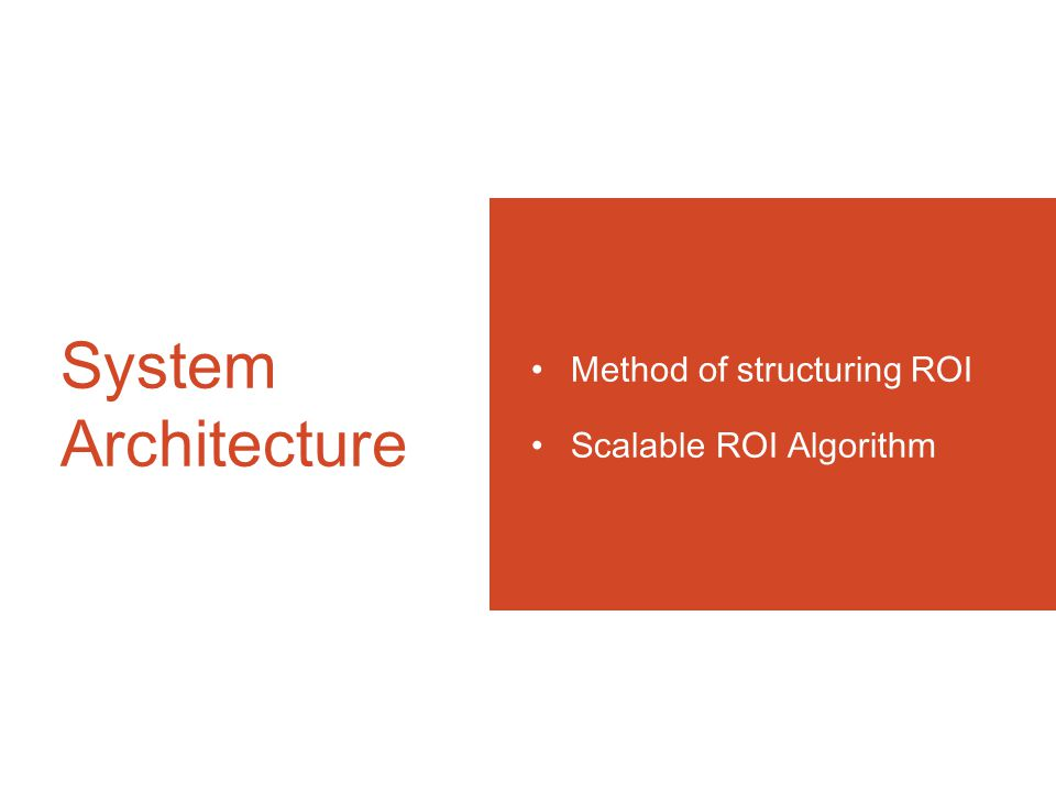 System Architecture Method of structuring ROI Scalable ROI Algorithm