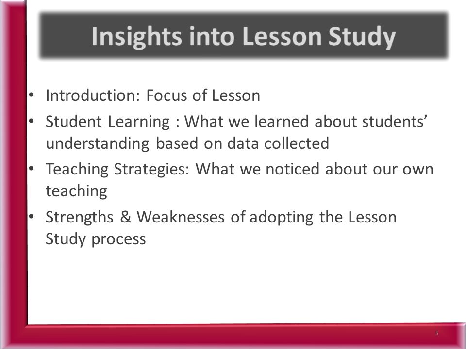 Introduction: Focus of Lesson Student Learning : What we learned about students' understanding based on data collected Teaching Strategies: What we no