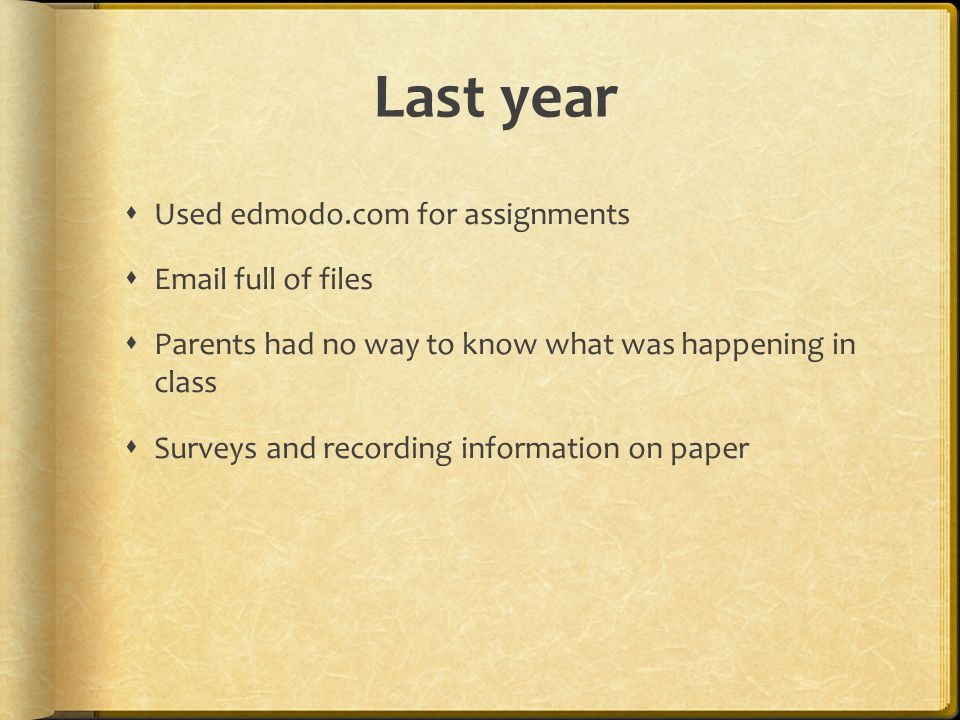 Last year  Used edmodo.com for assignments  Email full of files  Parents had no way to know what was happening in class  Surveys and recording information on paper