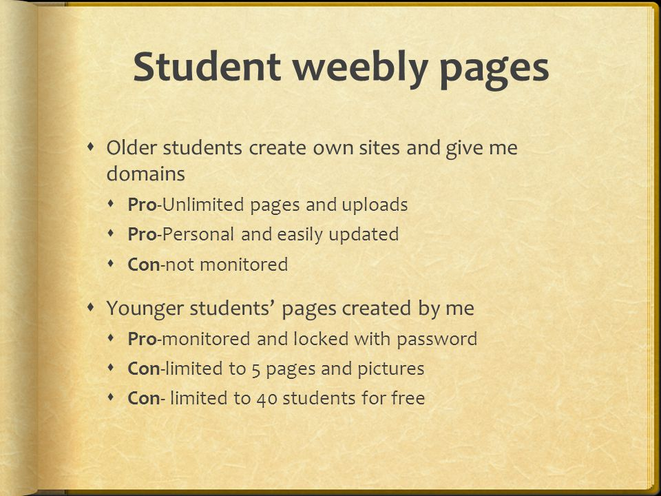Student weebly pages  Older students create own sites and give me domains  Pro-Unlimited pages and uploads  Pro-Personal and easily updated  Con-not monitored  Younger students' pages created by me  Pro-monitored and locked with password  Con-limited to 5 pages and pictures  Con- limited to 40 students for free