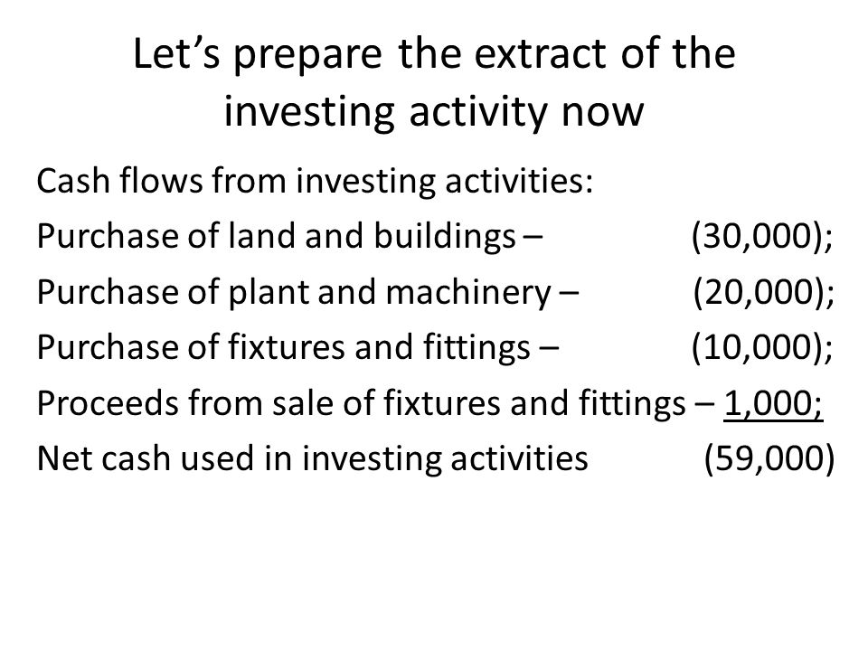 Let's prepare the extract of the investing activity now Cash flows from investing activities: Purchase of land and buildings – (30,000); Purchase of plant and machinery – (20,000); Purchase of fixtures and fittings – (10,000); Proceeds from sale of fixtures and fittings – 1,000; Net cash used in investing activities (59,000)