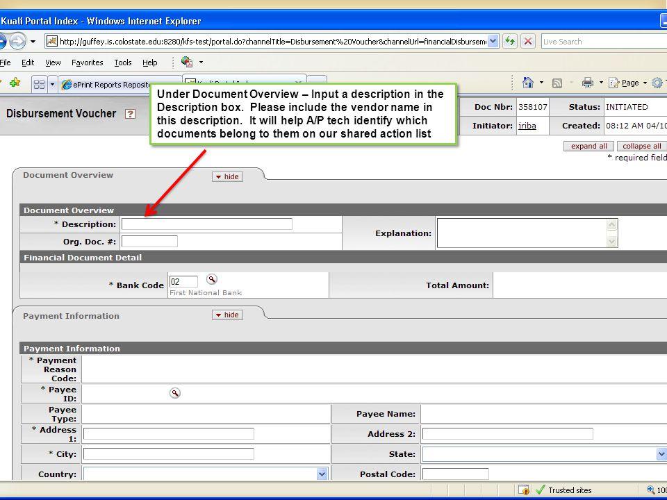 Under Document Overview – Input a description in the Description box.