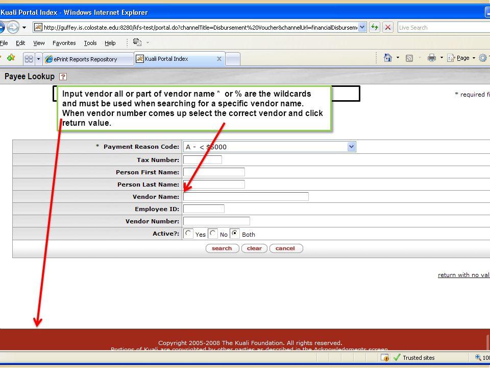 Input vendor name.