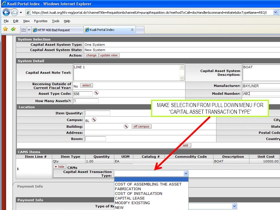 MAKE SELECTION FROM PULL DOWN MENU FOR CAPITAL ASSET TRANSACTION TYPE