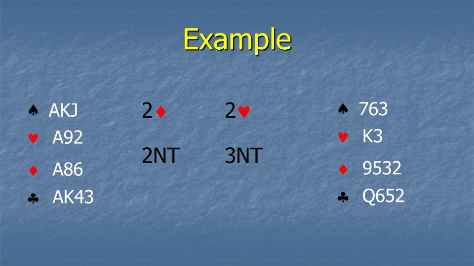 Example    AKJ A92 A86 AK43    763 K3 9532 Q652 22 3NT 2 2NT