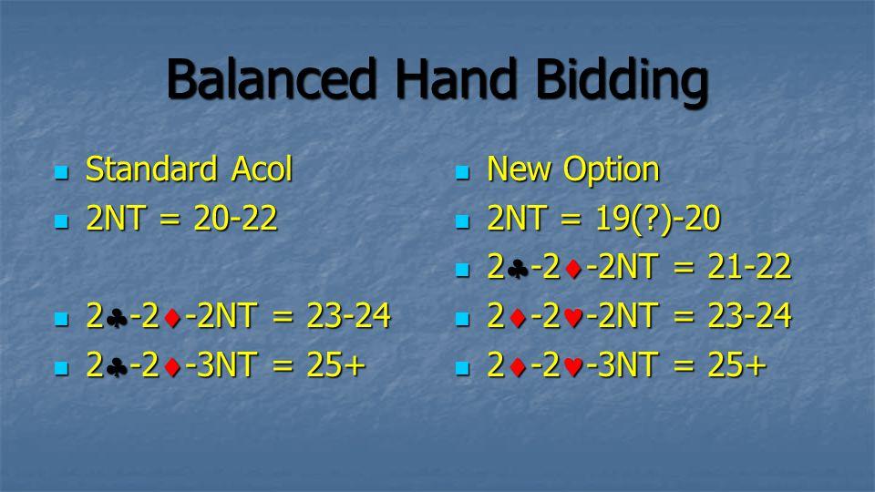 Balanced Hand Bidding Standard Acol Standard Acol 2NT = 20-22 2NT = 20-22 2  -2  -2NT = 23-24 2  -2  -2NT = 23-24 2  -2  -3NT = 25+ 2  -2  -3N