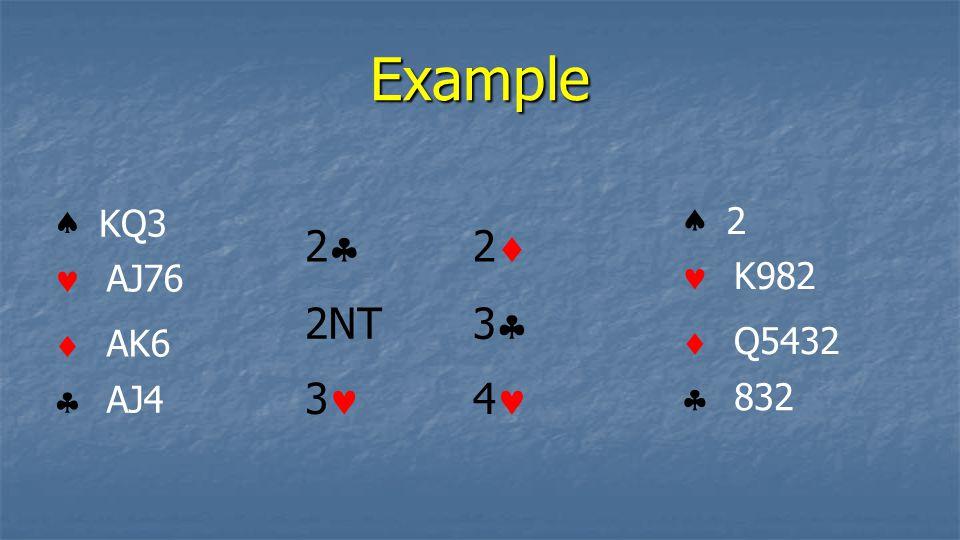 Example    KQ3 AJ76 AK6 AJ4    2 K982 Q5432 832 3 2NT 22 22 33 4