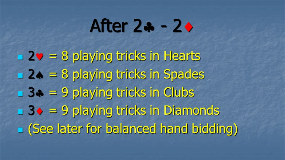 After 2  - 2  2 = 8 playing tricks in Hearts 2 = 8 playing tricks in Hearts 2  = 8 playing tricks in Spades 2  = 8 playing tricks in Spades 3  =