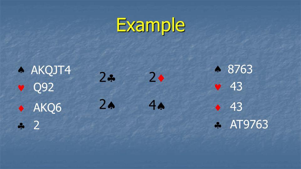 Example    AKQJT4 Q92 AKQ6 2    8763 43 AT9763 22 22 44 22