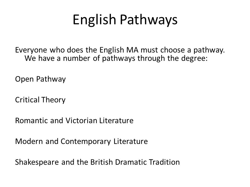 English Pathways Everyone who does the English MA must choose a pathway.