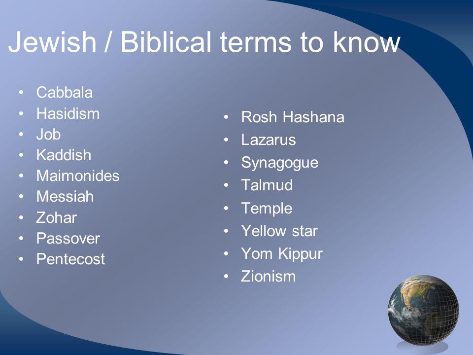 Jewish / Biblical terms to know Cabbala Hasidism Job Kaddish Maimonides Messiah Zohar Passover Pentecost Rosh Hashana Lazarus Synagogue Talmud Temple Yellow star Yom Kippur Zionism