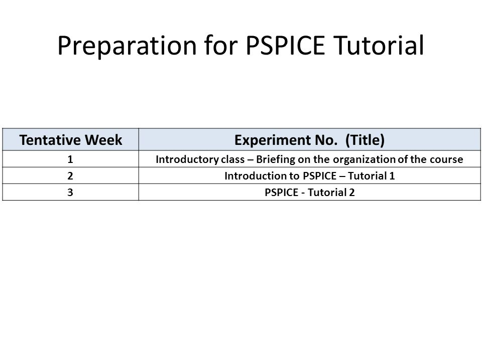 Tentative WeekExperiment No. (Title) 1Introductory class – Briefing on the organization of the course 2Introduction to PSPICE – Tutorial 1 3PSPICE - T