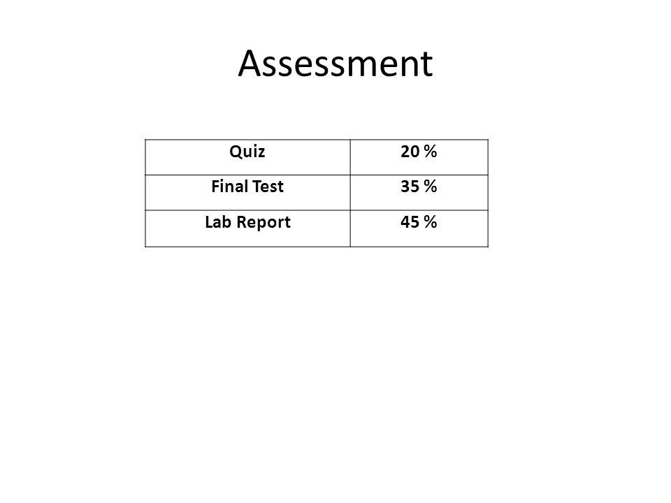 Quiz20 % Final Test35 % Lab Report45 % Assessment