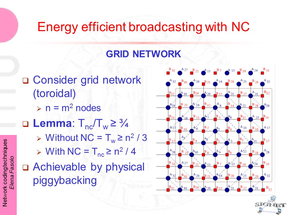 Network coding techniques Elena Fasolo  Consider grid network (toroidal)  n = m 2 nodes  Lemma: T nc /T w ≥ ¾  Without NC = T w ≥ n 2 / 3  With NC = T nc ≥ n 2 / 4  Achievable by physical piggybacking GRID NETWORK Energy efficient broadcasting with NC
