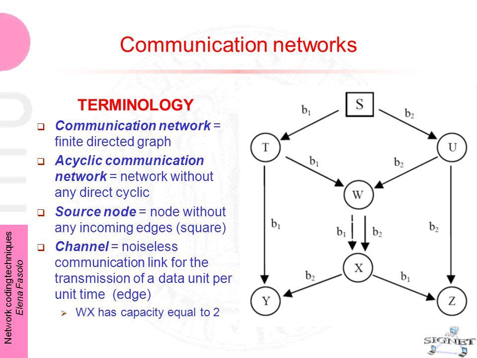 Network coding techniques Elena Fasolo Communication networks TERMINOLOGY  Communication network = finite directed graph  Acyclic communication netw