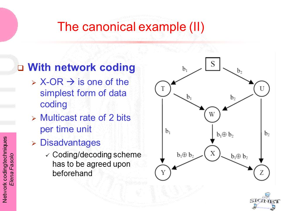 Network coding techniques Elena Fasolo The canonical example (II)  With network coding  X-OR  is one of the simplest form of data coding  Multicast rate of 2 bits per time unit  Disadvantages Coding/decoding scheme has to be agreed upon beforehand