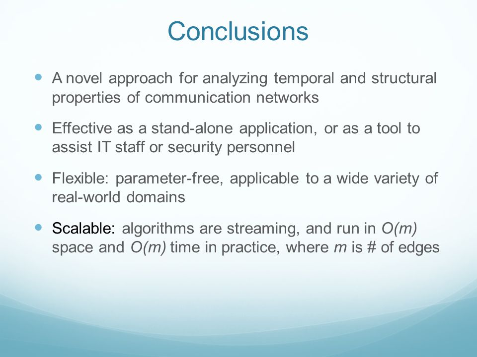 Conclusions A novel approach for analyzing temporal and structural properties of communication networks Effective as a stand-alone application, or as