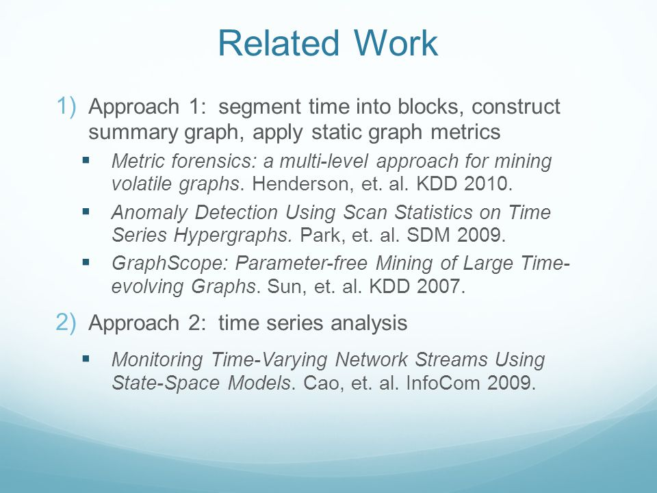 Related Work  Approach 1: segment time into blocks, construct summary graph, apply static graph metrics  Metric forensics: a multi-level approach f