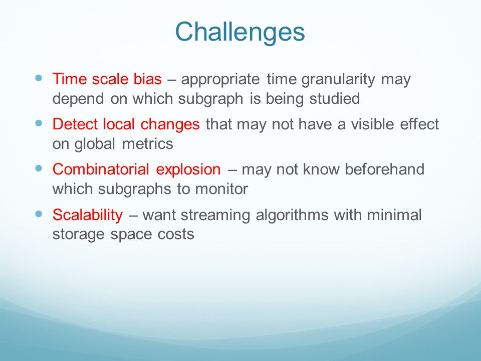 Challenges Time scale bias – appropriate time granularity may depend on which subgraph is being studied Detect local changes that may not have a visib