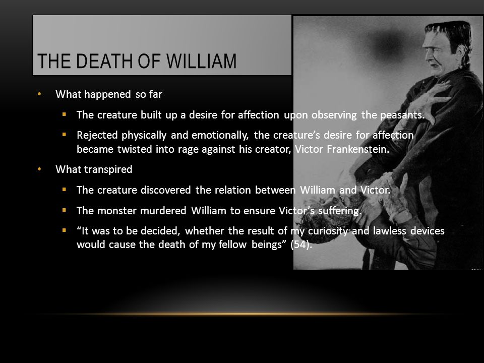 THE DEATH OF WILLIAM What happened so far  The creature built up a desire for affection upon observing the peasants.