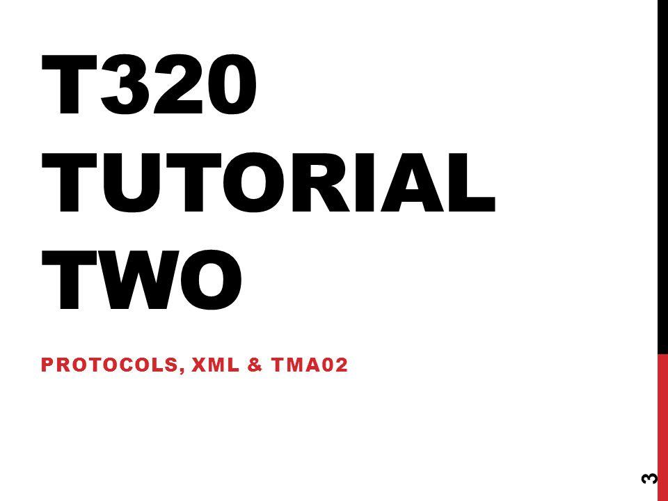 T320 TUTORIAL TWO PROTOCOLS, XML & TMA02 3