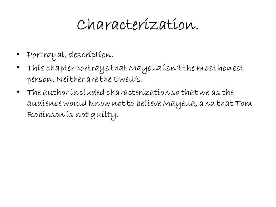 Characterization.Portrayal, description.