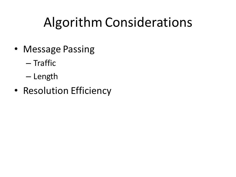 Algorithm Considerations Message Passing – Traffic – Length Resolution Efficiency