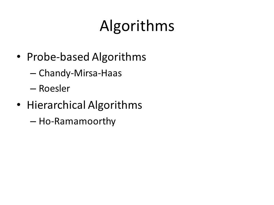 Algorithms Probe-based Algorithms – Chandy-Mirsa-Haas – Roesler Hierarchical Algorithms – Ho-Ramamoorthy