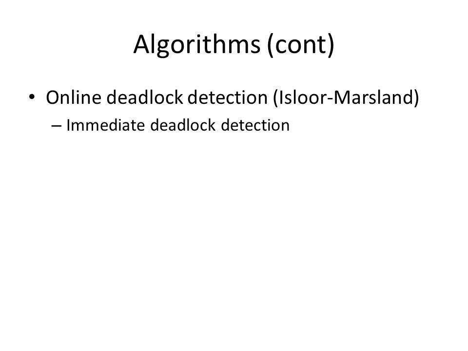 Algorithms (cont) Online deadlock detection (Isloor-Marsland) – Immediate deadlock detection
