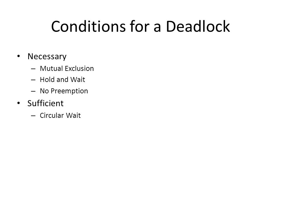 Conditions for a Deadlock Necessary – Mutual Exclusion – Hold and Wait – No Preemption Sufficient – Circular Wait