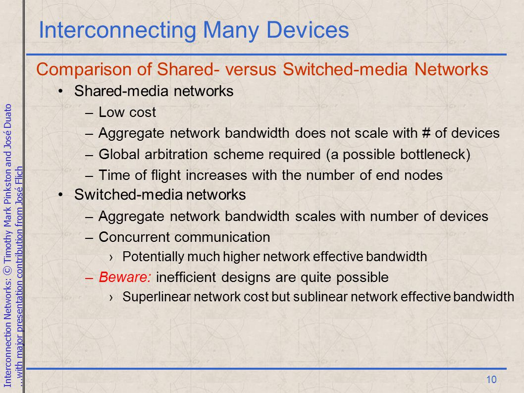 Interconnection Networks: © Timothy Mark Pinkston and José Duato...with major presentation contribution from José Flich 10 Interconnecting Many Devices Comparison of Shared- versus Switched-media Networks Shared-media networks –Low cost –Aggregate network bandwidth does not scale with # of devices –Global arbitration scheme required (a possible bottleneck) –Time of flight increases with the number of end nodes Switched-media networks –Aggregate network bandwidth scales with number of devices –Concurrent communication ›Potentially much higher network effective bandwidth –Beware: inefficient designs are quite possible ›Superlinear network cost but sublinear network effective bandwidth