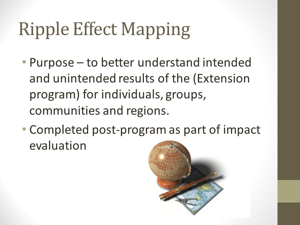 Ripple Effect Mapping Purpose – to better understand intended and unintended results of the (Extension program) for individuals, groups, communities and regions.
