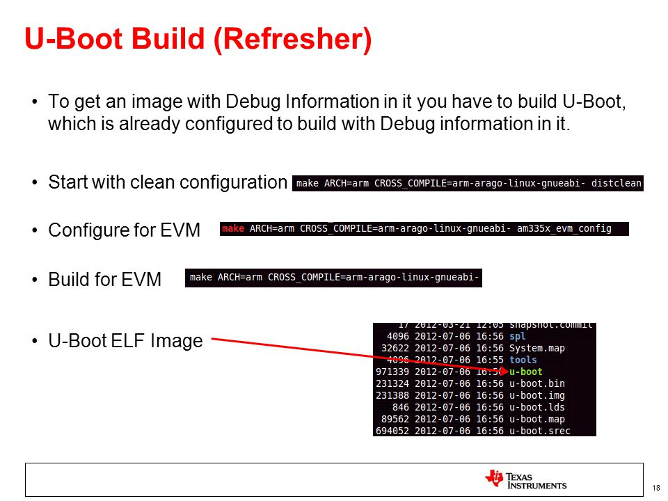 U-Boot Build (Refresher) To get an image with Debug Information in it you have to build U-Boot, which is already configured to build with Debug inform