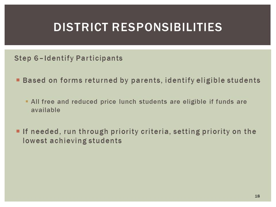 DISTRICT RESPONSIBILITIES Step 6–Identify Participants  Based on forms returned by parents, identify eligible students  All free and reduced price lunch students are eligible if funds are available  If needed, run through priority criteria, setting priority on the lowest achieving students 18