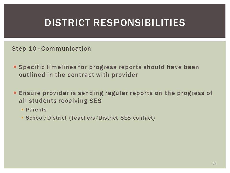 DISTRICT RESPONSIBILITIES Step 10–Communication  Specific timelines for progress reports should have been outlined in the contract with provider  Ensure provider is sending regular reports on the progress of all students receiving SES  Parents  School/District (Teachers/District SES contact) 23
