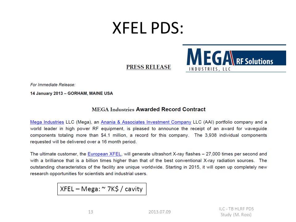 13 XFEL PDS: 2013.07.09 ILC - TB HLRF PDS Study (M. Ross) XFEL – Mega: ~ 7K$ / cavity