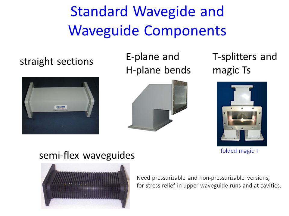 Standard Wavegide and Waveguide Components straight sections E-plane and H-plane bends T-splitters and magic Ts folded magic T Need pressurizable and non-pressurizable versions, for stress relief in upper waveguide runs and at cavities.