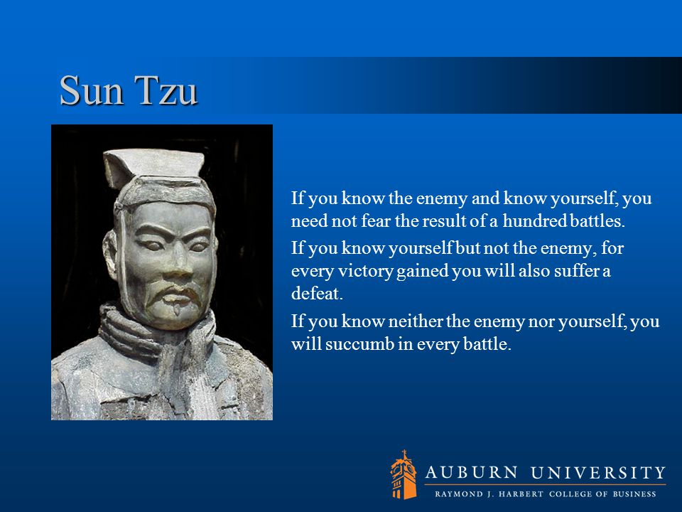 Sun Tzu If you know the enemy and know yourself, you need not fear the result of a hundred battles.