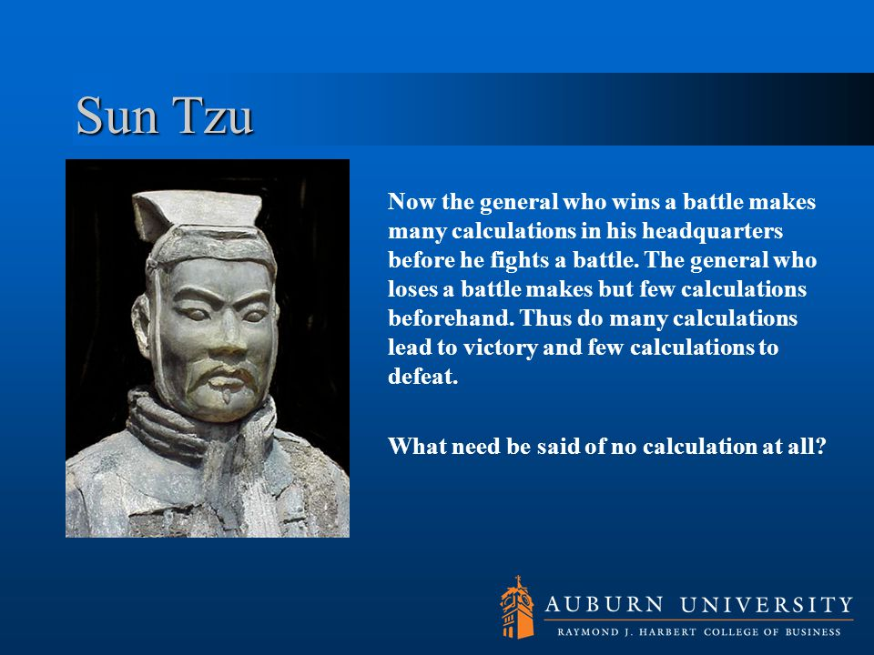 Sun Tzu Now the general who wins a battle makes many calculations in his headquarters before he fights a battle.