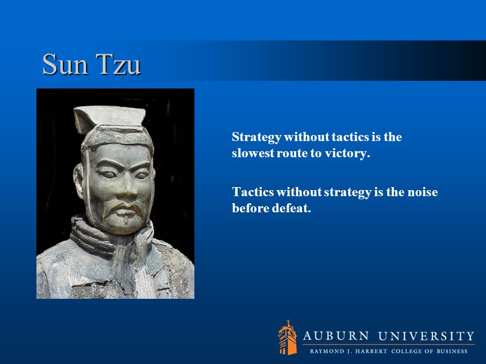 Sun Tzu Strategy without tactics is the slowest route to victory.
