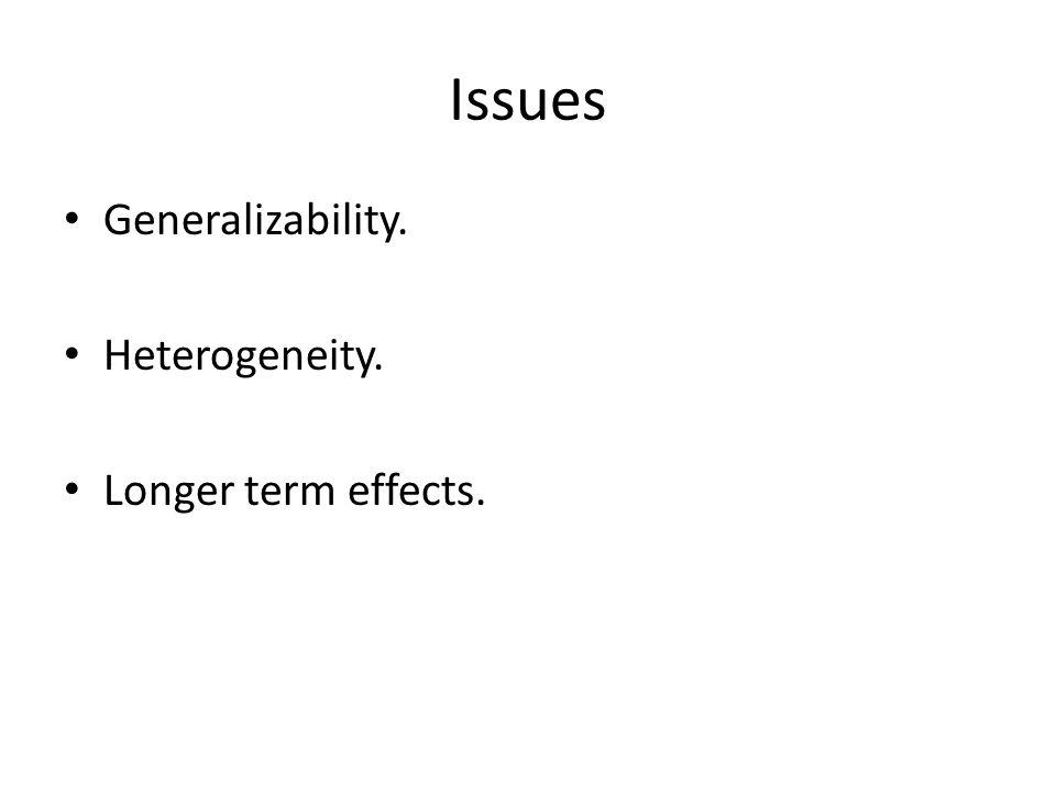 Issues Generalizability. Heterogeneity. Longer term effects.