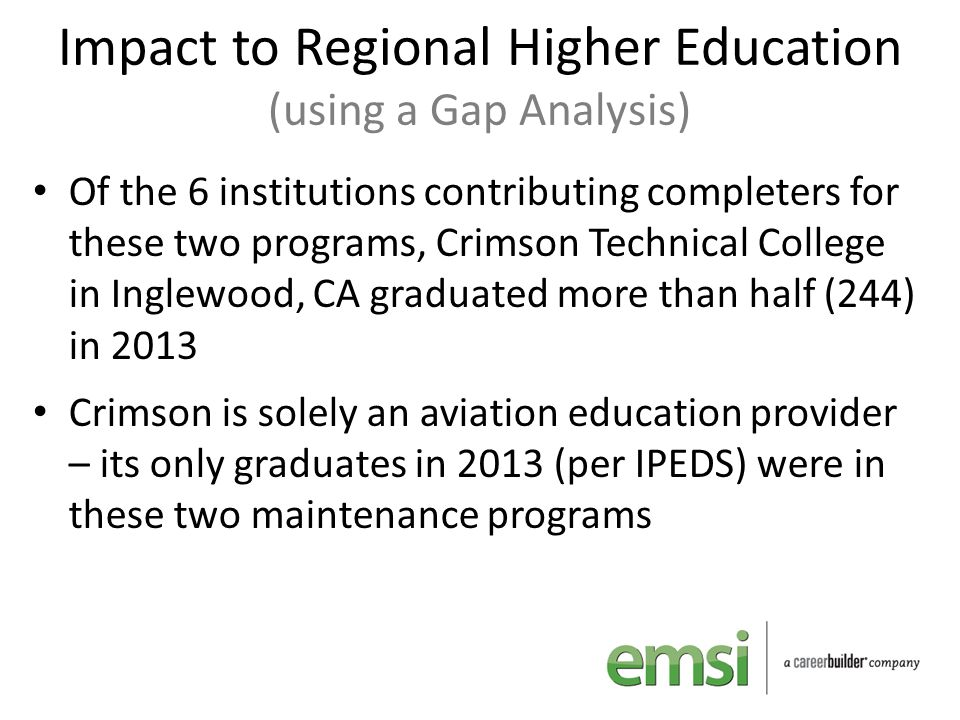 Impact to Regional Higher Education (using a Gap Analysis) Of the 6 institutions contributing completers for these two programs, Crimson Technical Col