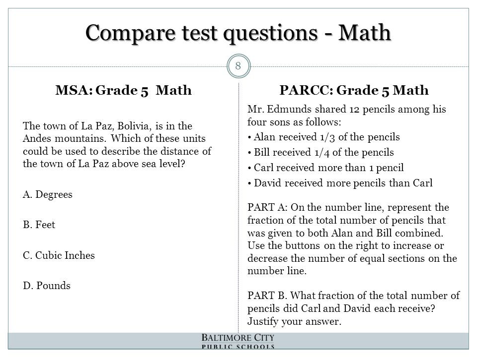 Compare test questions - Math The town of La Paz, Bolivia, is in the Andes mountains.