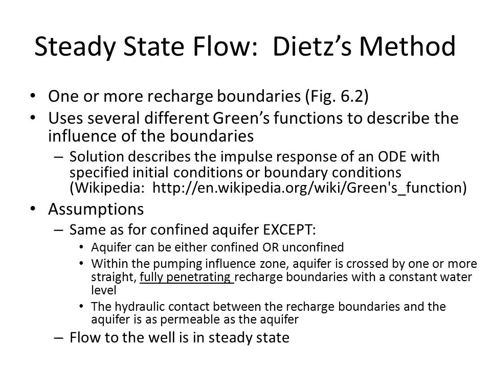 Steady State Flow: Dietz's Method One or more recharge boundaries (Fig.