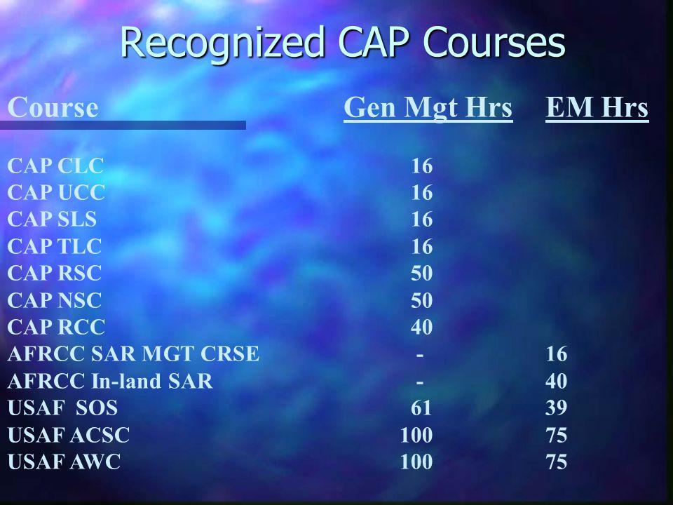 Recognized CAP Courses CourseGen Mgt HrsEM Hrs CAP CLC16 CAP UCC16 CAP SLS16 CAP TLC16 CAP RSC50 CAP NSC50 CAP RCC40 AFRCC SAR MGT CRSE -16 AFRCC In-land SAR -40 USAF SOS6139 USAF ACSC 10075 USAF AWC 10075