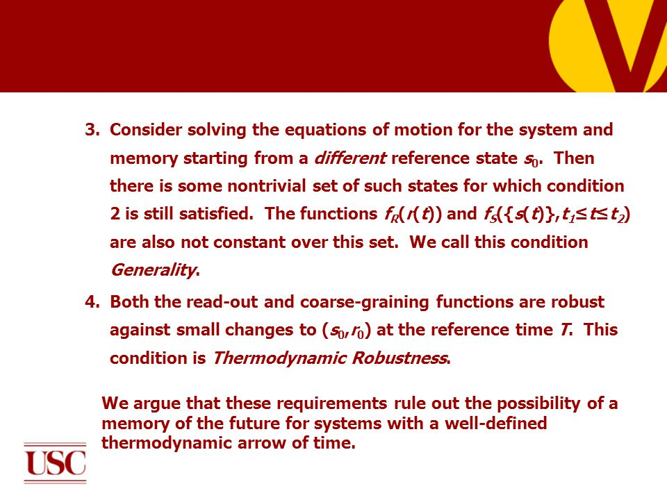 3.Consider solving the equations of motion for the system and memory starting from a different reference state s 0.