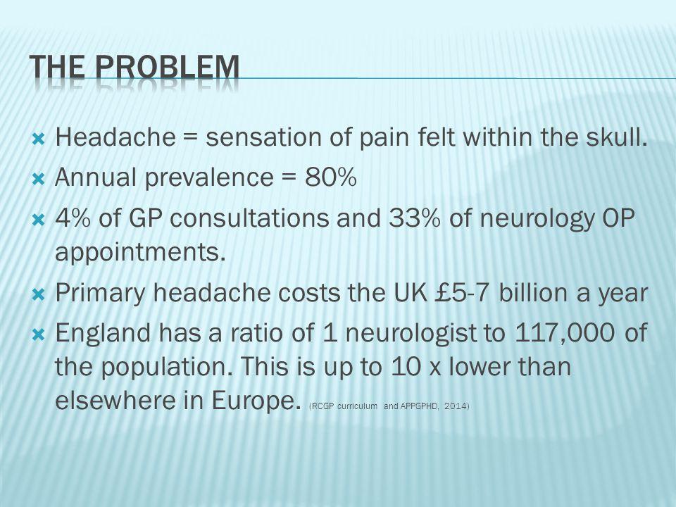  Headache = sensation of pain felt within the skull.