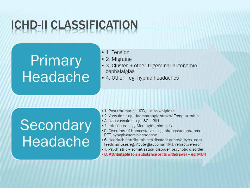 1. Tension 2. Migraine 3. Cluster + other trigeminal autonomic cephalalgias 4.