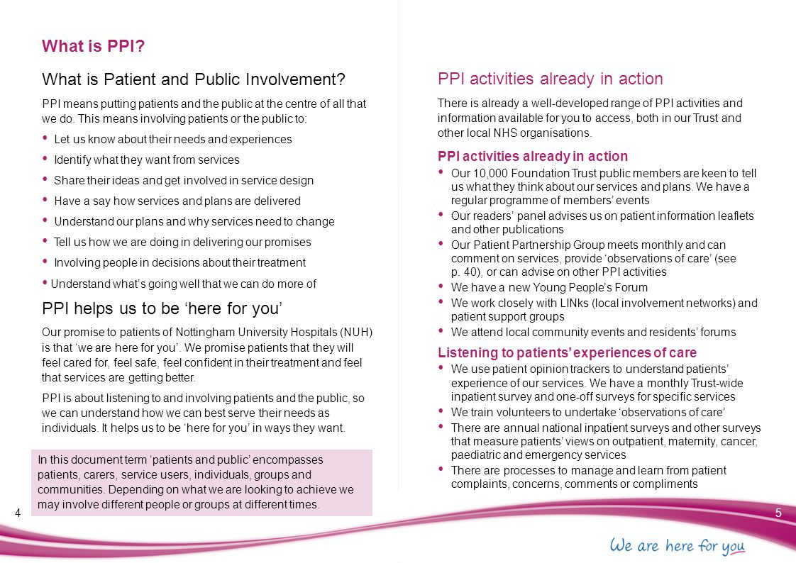 Why involve patients and the public.Why should we do PPI.
