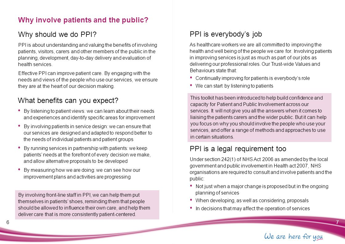 Planning for success 89 Questions to consider when planning PPI The following questions can help you to plan for successful patient and public involvement: Why use patient and public involvement.